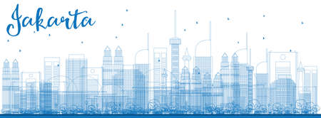 Outline Jakarta skyline with blue landmarks. Vector illustration. Business travel and tourism concept with historic buildings. Image for presentation, banner, placard and web site.