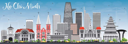 chi: Ho Chi Minh Skyline with Gray Buildings and Blue Sky. Vector Illustration. Business Travel and Tourism Concept with Modern Buildings. Image for Presentation Banner Placard and Web Site.