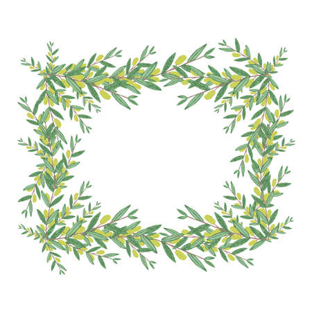 branches with leaves: Watercolor olive wreath. Isolated vector illustration on white background. Organic and natural concept. Illustration