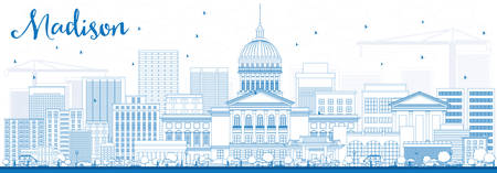 madison: Outline Madison Skyline with Blue Buildings. Vector Illustration. Business Travel and Tourism Concept with Modern Buildings. Image for Presentation Banner Placard and Web Site.
