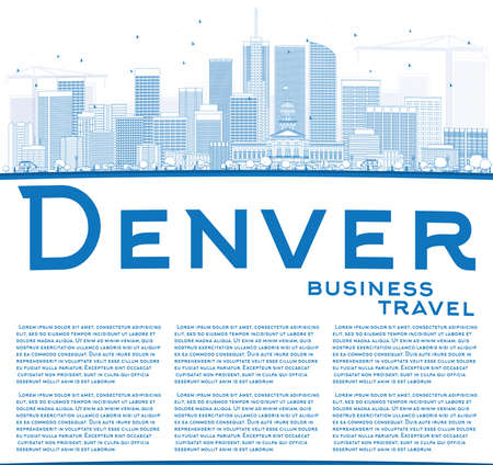 Outline Denver Skyline with Blue Buildings and Copy Space. Vector Illustration. Business Travel and Tourism Concept with Modern Buildings. Image for Presentation Banner Placard and Web Site.