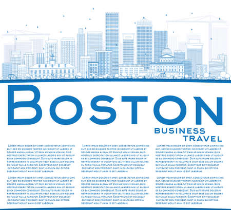Outline Boston Skyline with Blue Buildings and Copy Space. Vector Illustration. Business Travel and Tourism Concept with Modern Buildings. Image for Presentation Banner Placard and Web Site.