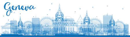 Esquema horizonte de Ginebra con las señales azules. Ilustración del vector. Los viajes de negocios y turismo concepto de edificios históricos. Imagen de la presentación, la bandera, el cartel y la página web. Ilustración de vector