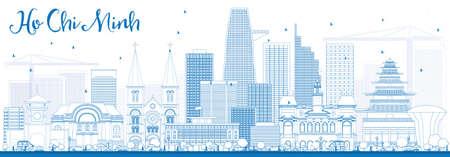 블루 건물로 호치민 스카이 라인을 설명합니다. 벡터 일러스트 레이 션. 현대 건물 비즈니스 여행 및 관광 개념. 프리젠 테이션 배너 현수막 및 웹 사이 일러스트