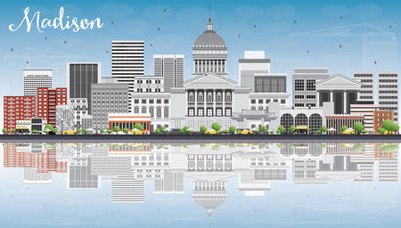 madison: Madison Skyline with Gray Buildings, Blue Sky and Reflections. Vector Illustration. Business Travel and Tourism Concept with Modern Buildings. Image for Presentation Banner Placard and Web Site.