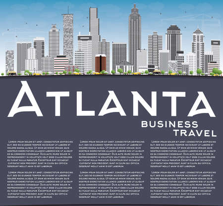 atlanta tourism: Atlanta Skyline with Gray Buildings, Blue Sky and Copy Space. Vector Illustration. Business Travel and Tourism Concept with Modern Buildings. Image for Presentation Banner Placard and Web Site.