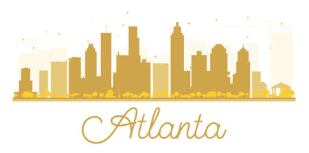 atlanta tourism: Atlanta City skyline golden silhouette. Vector illustration. Simple flat concept for tourism presentation, banner, placard or web site. Business travel concept. Cityscape with landmarks