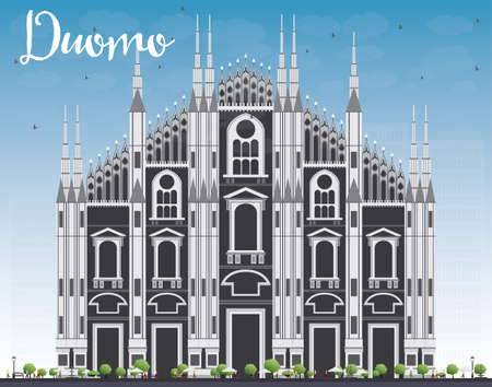 Duomo. Milan. Italy. Vector Illustration. Tourism Concept with Historic Building. Image for Presentation Banner Placard and Web Site. 矢量图像