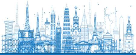 puntos de referencia de fama mundial contorno. Ilustración del vector. Los viajes de negocios y el concepto de turismo. Imagen de la presentación, bandera, cartel y el sitio web Ilustración de vector