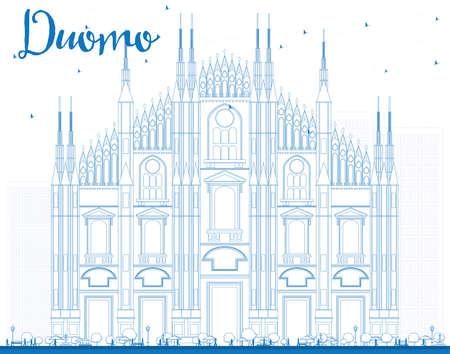 Esquema Duomo en color azul. Milán. Italia. Ilustración del vector. Concepto de Turismo con el edificio histórico. Presentación de imágenes del banner de cartel y del sitio Web.