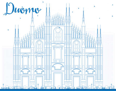 Outline Duomo in Blue Color. Milan. Italy. Vector Illustration. Tourism Concept with Historic Building. Image for Presentation Banner Placard and Web Site. 矢量图像