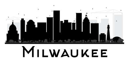 milwaukee: Milwaukee City skyline black and white silhouette. Vector illustration. Simple flat concept for tourism presentation, banner, placard or web site. Cityscape with landmarks