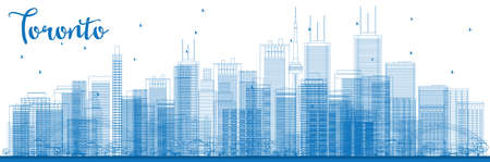 toronto: Outline Toronto skyline with blue buildings. Vector illustration. Business travel and tourism concept with modern buildings. Image for presentation, banner, placard and web site.