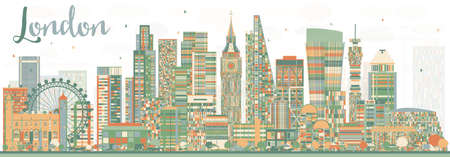 business travel: Abstract London Skyline with Color Buildings. Business Travel and Tourism Concept with Modern Buildings. Image for Presentation Banner Placard and Web Site. Illustration