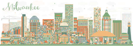 milwaukee: Abstract Milwaukee Skyline with Color Buildings. Vector Illustration. Business Travel and Tourism Concept with Modern Buildings. Image for Presentation Banner Placard and Web Site. Illustration
