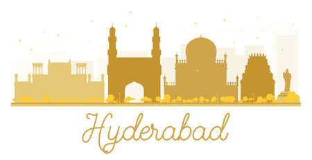 hyderabad: Hyderabad City skyline golden silhouette. Vector illustration. Simple flat concept for tourism presentation, banner, placard or web site. Business travel concept. Cityscape with landmarks Illustration