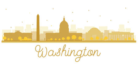 bonhomme blanc: Washington dc ville skyline silhouette dorée. Vector illustration. concept de plat simple pour le tourisme présentation, bannière, affiche ou d'un site web. concept de Voyage d'affaires. Paysage urbain avec des repères