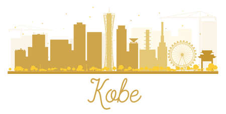 kobe: Kobe City skyline golden silhouette. Vector illustration. Simple flat concept for tourism presentation, banner, placard or web site. Business travel concept. Cityscape with landmarks