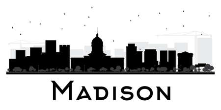 madison: Madison City skyline black and white silhouette. Vector illustration. Simple flat concept for tourism presentation, banner, placard or web site. Cityscape with landmarks