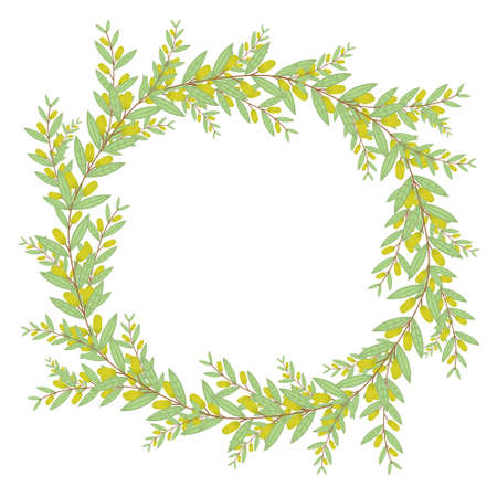 olive wreath: Olive wreath. Isolated vector illustration on white background. Organic and natural concept.