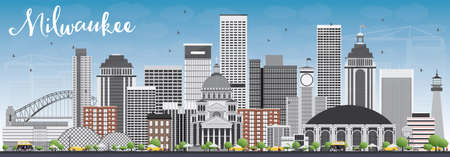 milwaukee: Milwaukee Skyline with Gray Buildings and Blue Sky. Vector Illustration. Business Travel and Tourism Concept with Modern Buildings. Image for Presentation Banner Placard and Web Site.
