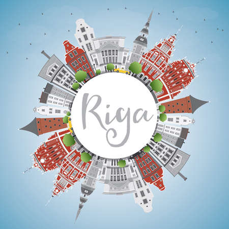 Riga Skyline with Landmarks, Blue Sky and Copy Space. Vector Illustration. Business Travel and Tourism Concept with Historic Buildings. Image for Presentation Banner Placard and Web Site.