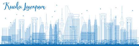 파란색 건물 쿠알라 룸푸르 스카이 라인 개요. 벡터 일러스트 레이 션. 현대적인 건물 비즈니스 여행 및 관광 개념. 프레 젠 테이 션, 배너, 현수막 및  일러스트