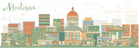 madison: Abstract Madison Skyline with Color Buildings. Vector Illustration. Business Travel and Tourism Concept with Modern Buildings. Image for Presentation Banner Placard and Web Site. Illustration