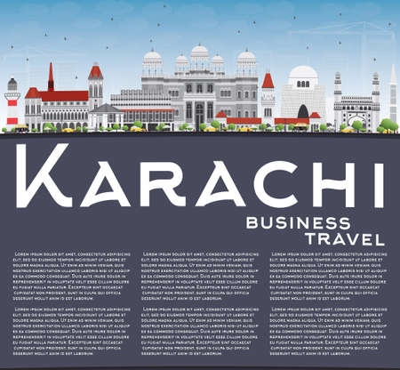 karachi: Karachi Skyline with Gray Landmarks, Blue Sky and Copy Space. Vector Illustration. Business Travel and Tourism Concept with Historic Buildings. Image for Presentation Banner Placard and Web Site. Illustration