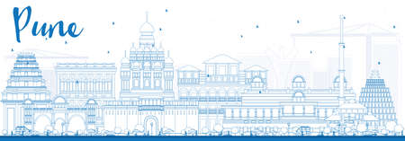 pune: Outline Pune Skyline with Blue Buildings. Vector Illustration. Business Travel and Tourism Concept with Historic Buildings. Image for Presentation Banner Placard and Web Site.