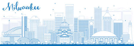 milwaukee: Outline Milwaukee Skyline with Blue Buildings. Vector Illustration. Business Travel and Tourism Concept with Modern Buildings. Image for Presentation Banner Placard and Web Site.