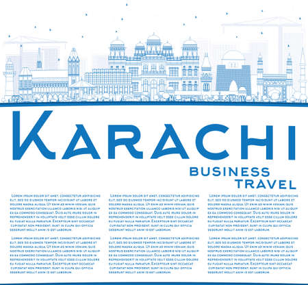karachi: Outline Karachi Skyline with Blue Landmarks and Copy Space. Vector Illustration. Business Travel and Tourism Concept with Historic Buildings. Image for Presentation Banner Placard and Web Site.