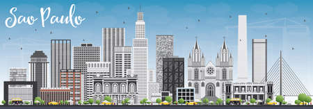 Sao Paulo Skyline with Gray Buildings and Blue Sky. Vector Illustration. Business Travel and Tourism Concept with Modern Buildings. Image for Presentation Banner Placard and Web Site.