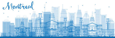 montreal: Outline Montreal skyline with blue buildings. Vector illustration. Business travel and tourism concept with modern buildings. Image for presentation, banner, placard and web site.