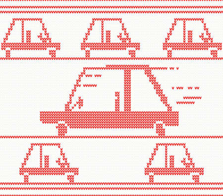 Red Knitted Car Vector Illustration Christmas Seamless Pattern