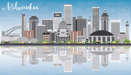 milwaukee: Milwaukee Skyline with Gray Buildings, Blue Sky and Reflections. Vector Illustration. Business Travel and Tourism Concept with Modern Buildings. Image for Presentation Banner Placard and Web Site.