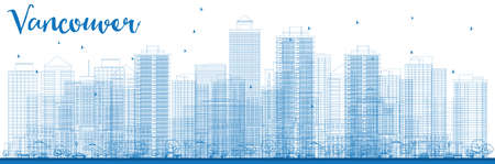 Outline Vancouver skyline with blue buildings. Vector illustration. Business travel and tourism concept with modern buildings. Image for presentation, banner, placard and web site.