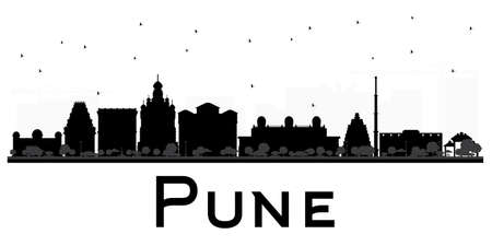 pune: Pune skyline black and white silhouette. Vector illustration. Simple flat concept for tourism presentation, banner, placard or web site. Cityscape with famous landmarks