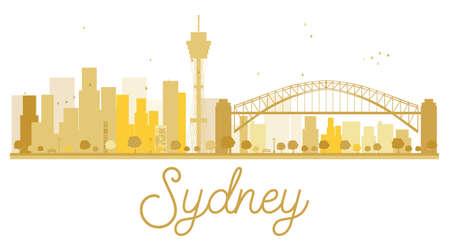sydney skyline: Sydney City skyline golden silhouette. Vector illustration. Simple flat concept for tourism presentation, banner, placard or web site. Sydney isolated on white background