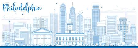 ブルーの建物概要フィラデルフィア スカイライン。ベクトルの図。ビジネス旅行と観光コンセプト フィラデルフィア市建物。プレゼンテーション