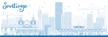 santiago: Outline Santiago Chile Skyline with Blue Buildings. Vector Illustration. Business Travel and Tourism Concept with Modern Buildings. Image for Presentation Banner Placard and Web Site. Illustration