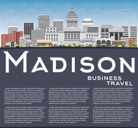 madison: Madison Skyline with Gray Buildings, Blue Sky and Copy Space. Vector Illustration. Business Travel and Tourism Concept with Modern Buildings. Image for Presentation Banner Placard and Web Site.