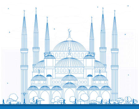 outline blue: Outline Blue Mosque in Istanbul Turkey. Vector Illustration. Business Travel and Tourism Concept with Historic Building. Image for Presentation Banner Placard and Web Site. Illustration