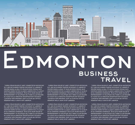 edmonton: Edmonton Skyline with Gray Buildings, Blue Sky and Copy Space. Vector Illustration. Business Travel and Tourism Concept with Modern Buildings. Image for Presentation Banner Placard and Web Site. Illustration