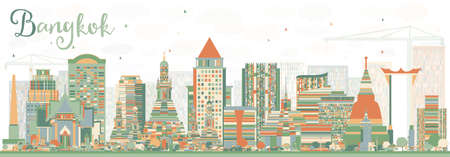 Abstract Bangkok Skyline with Color Landmarks. Vector Illustration. Business Travel and Tourism Concept with Bangkok City. Image for Presentation Banner Placard and Web Site.
