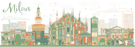 Abstract Milan Skyline with Color Landmarks. Vector Illustration. Business Travel and Tourism Concept with Historic Buildings. Image for Presentation Banner Placard and Web Site. Vettoriali