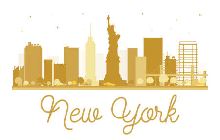 sky scrapers: New York City skyline golden silhouette. Vector illustration. Simple flat concept for tourism presentation, banner, placard or web site. New York  isolated on white background