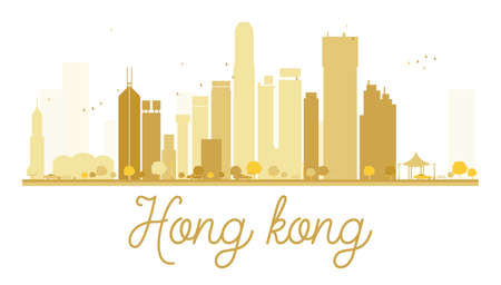 hong kong skyline: Hong Kong City skyline golden silhouette. Vector illustration. Simple flat concept for tourism presentation, banner, placard or web site. Hong Kong isolated on white background