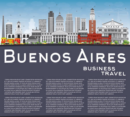 aires: Buenos Aires Skyline with Color Landmarks, Blue Sky and Copy Space. Vector Illustration. Illustration