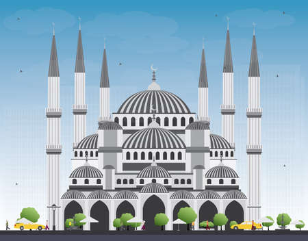 historic building: Blue Mosque in Istanbul Turkey. Vector Illustration. Business Travel and Tourism Concept with Historic Building. Image for Presentation Banner Placard and Web Site. Illustration